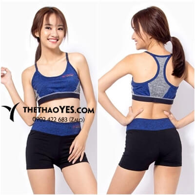 Áo bra tập gym nữ màu xanh