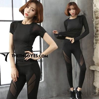 bộ quần áo thể thao nữ màu đen