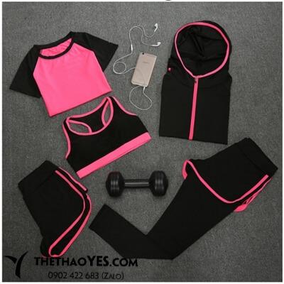 bộ quần áo thể thao nữ màu hồng