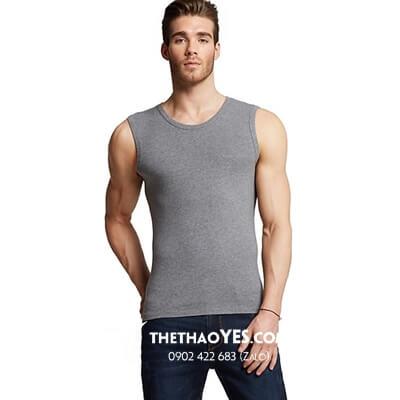 Áo thun tập gym nam ba lỗ màu xám.