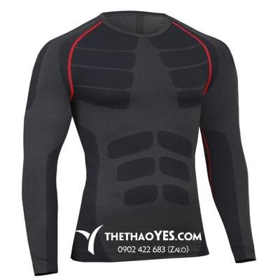 Áo thun tập gym nam dài tay màu đen