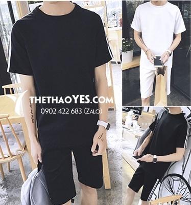 bộ thể thao nam quần short màu đen