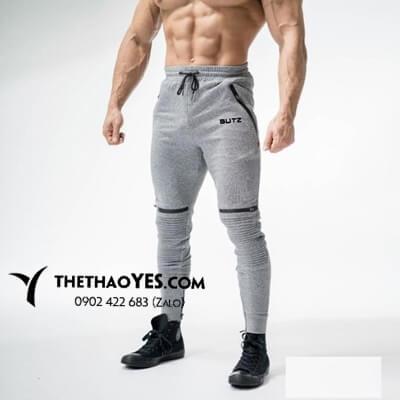quần dài tập gym nam màu xám