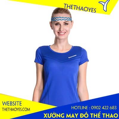 áo thun cổ tròn thể thao nữ xanh