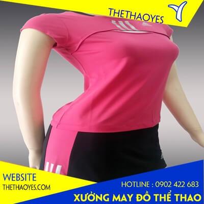 áo thun cổ tròn thể thao nữ hồng